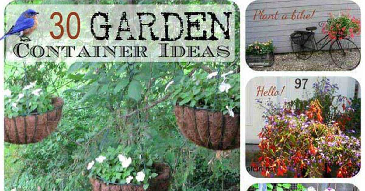 Garden Container Ideas fill thrill and spill 30 creative garden container ideas container gardening gardening baskets 30 Creative Garden Container Ideas