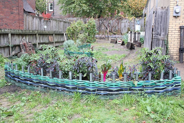 Woven Garden Hoses Used As Edging