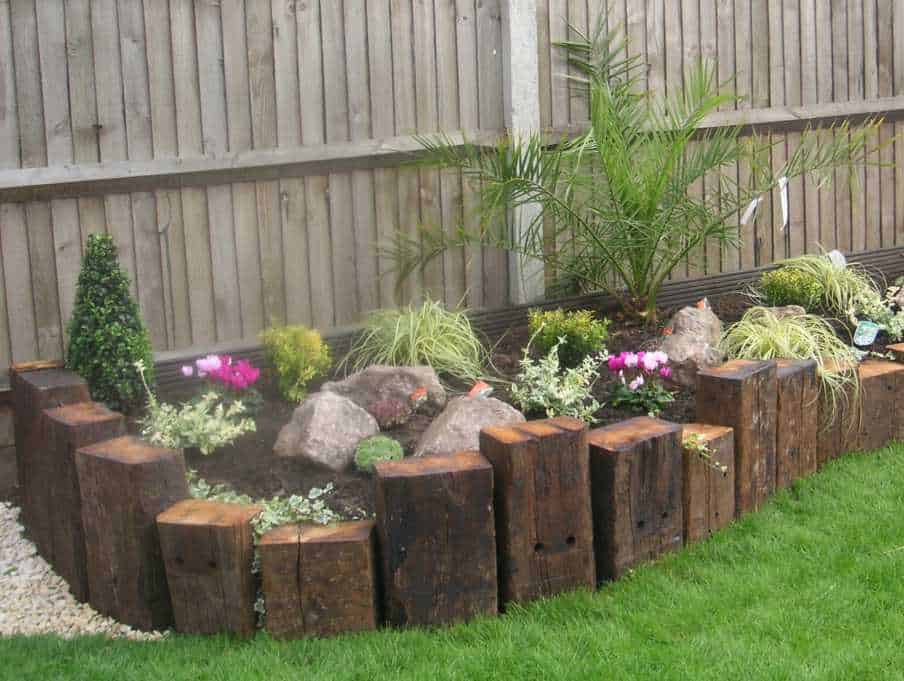 vertical railway sleepers - Garden Design Using Railway Sleepers