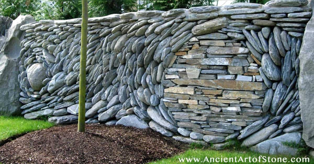 Ancient stone designed as mosiac art for Stone wall art
