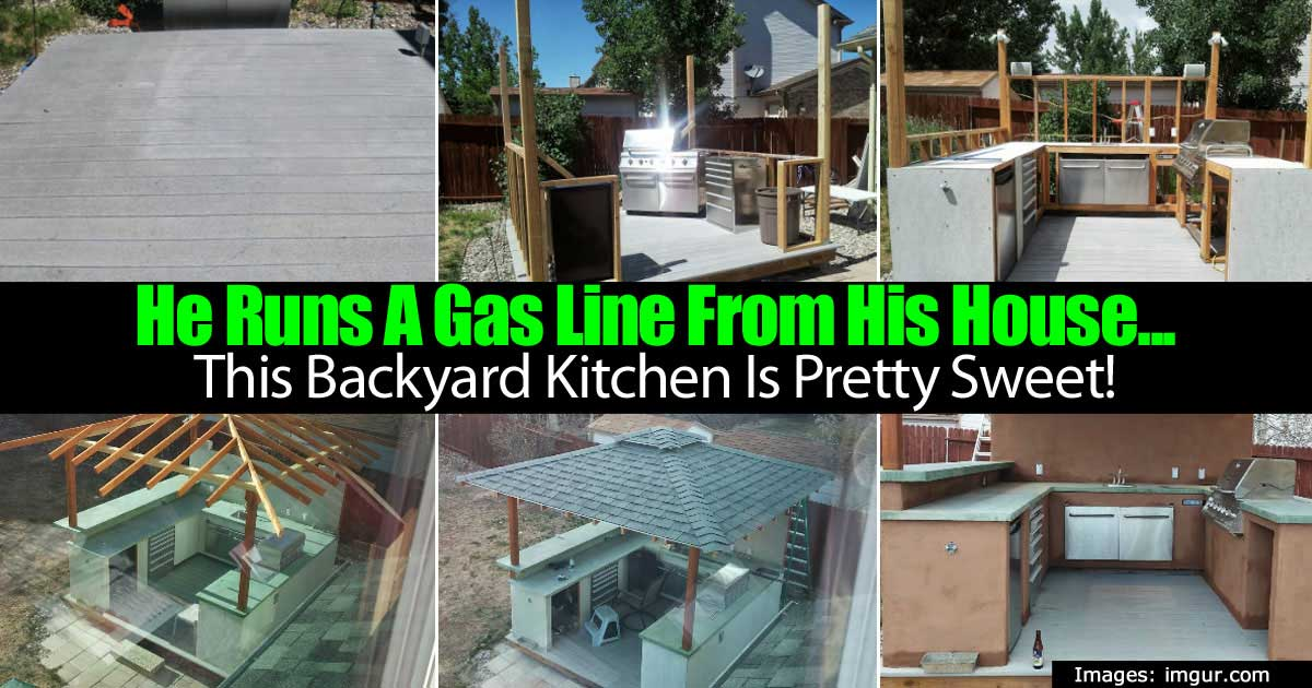 he runs a gas line from his house this backyard kitchen is