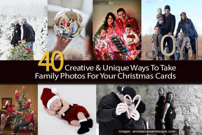 40 creative unique ways to take family photos for your for Unique family christmas cards