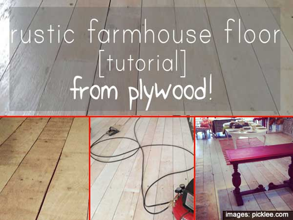 How To Make Old Farmhouse Wide Plank Flooring From Plywood Tutorial