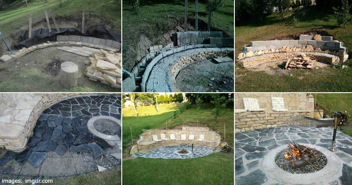 outdoor fire pit built into sloping hillside