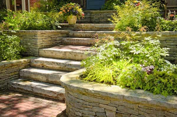 Flagstone Retaining Wall And Steps, Front Entrance To Home
