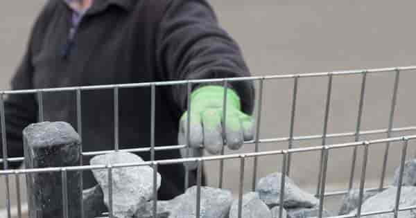 filling a gabion wire frame