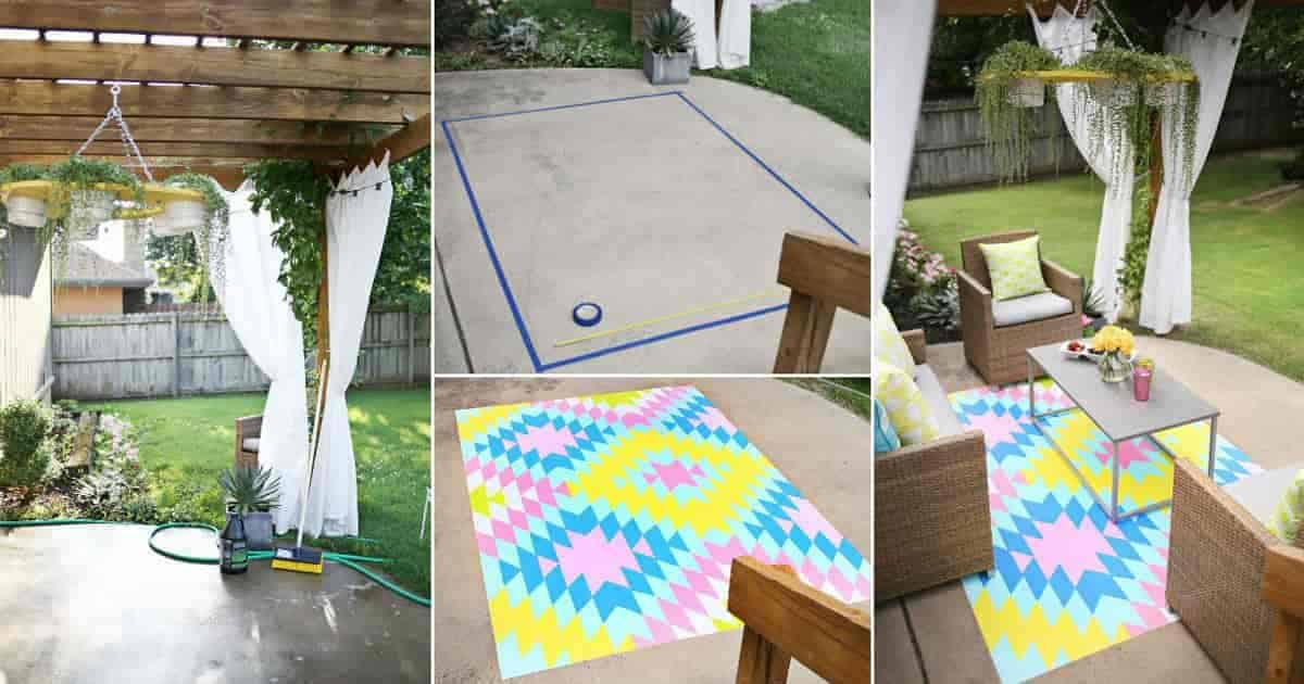 "patio floor with a painted ""rug"""