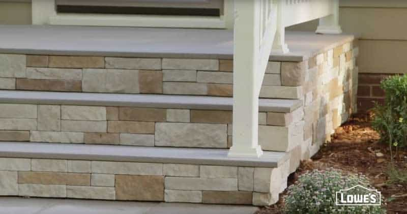 Stone veneer added to columns, posts foundations and walkways.