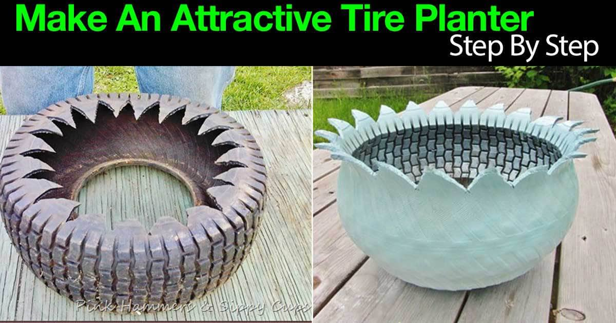 how to make an attractive tire planter step by step