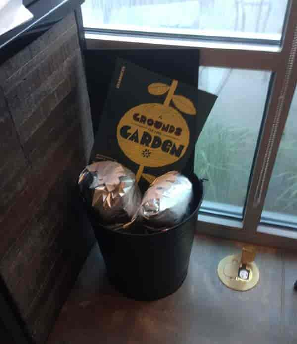 10 pound bags of used coffee grounds for composting at local Starbucks coffee shop - Jacksonville Florida